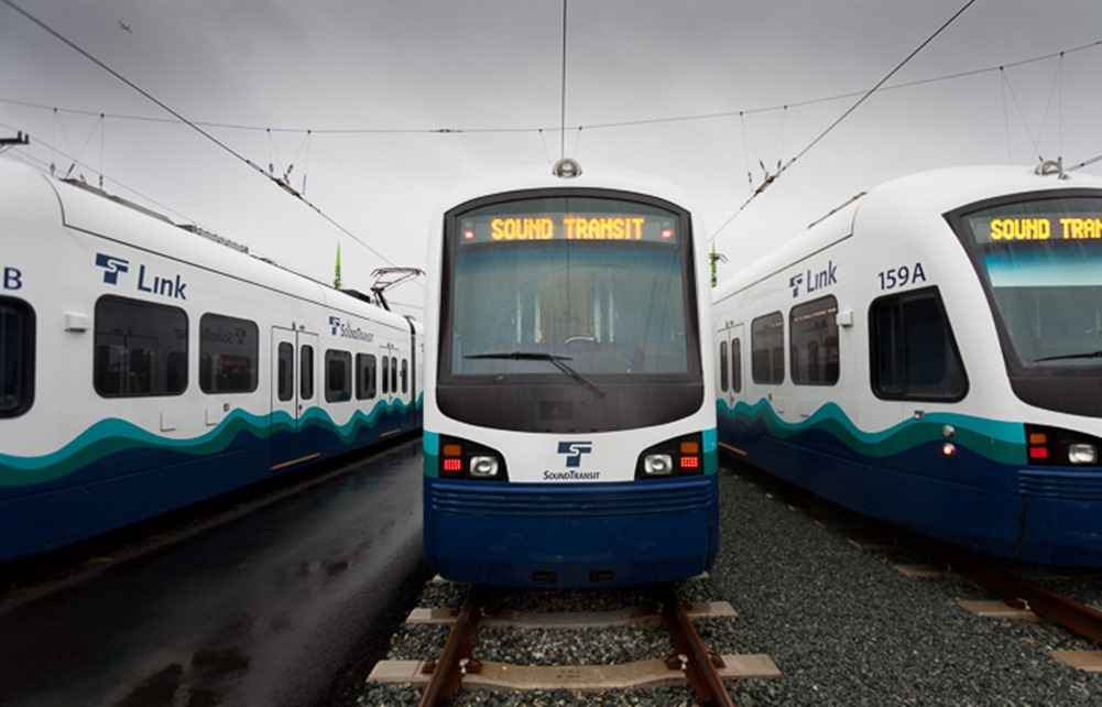 SoundTransit trains sit in the rail yard at the maintenance facility in Seattle on Friday, Feb. 17, 2012.