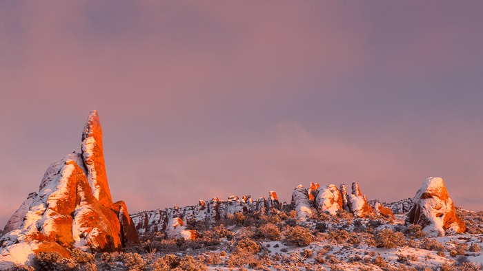 Rock fins in Arches National Park, UT, are washed in sunset light on Saturday, Feb. 23, 2013. (Photo/Neil Enns)